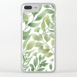 Green Tropical Leaves Clear iPhone Case