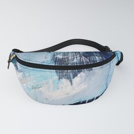 Vibes: an abstract mixed media piece in blues and pinks by Alyssa Hamilton Art Fanny Pack