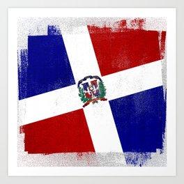 Dominican Republic Distressed Halftone Denim Flag Art Print