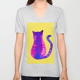 gato purpura Unisex V-Neck