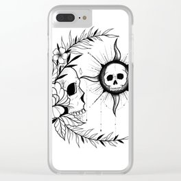 sun and moon skull Clear iPhone Case