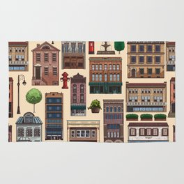 Vintage white brown architecture town pattern Rug