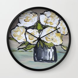 Roses white abstract shapes, modern art, floral painting, modern pattern roses Wall Clock