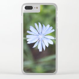 Blue Sow Thistle Clear iPhone Case
