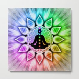 In Meditation With Chakras III Metal Print