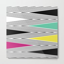 Abstract pattern of zigzag and triangles 3 . Metal Print