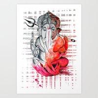 ganesh Art Prints featuring Ganesh by Rishi Parikh