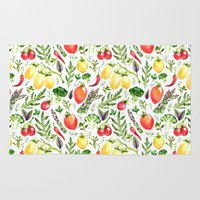 vegetables Area & Throw Rugs featuring Watercolor vegetables by Achtung