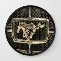 mustang Wall Clocks featuring Mustang  by Dragons Laire