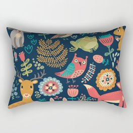 Forest friends - navy Rectangular Pillow