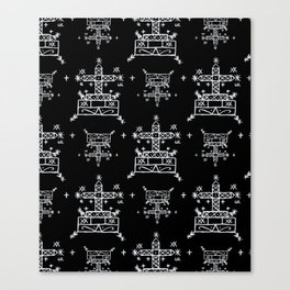 Baron Samedi Voodoo Veve Symbols in Black Canvas Print