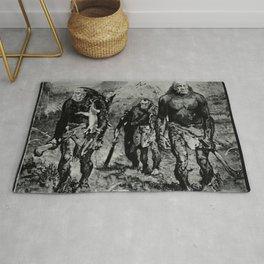 Vintage Poster - Richard Nixon, Spiro Agnew, and J. Edgar Hoover as prehistoric men (1971) Rug