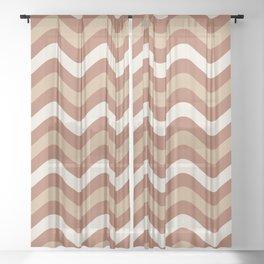 Cavern Clay SW 7701 and Ligonier Tan SW 7717 Wavy Horizontal Stripes on Creamy Off White SW7012 Sheer Curtain