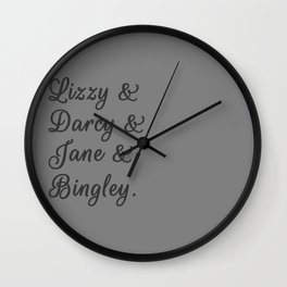 The Pride and Prejudice Couples I Wall Clock
