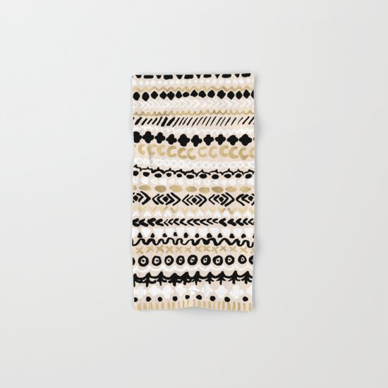 Black, White & Gold Tribal Hand & Bath Towel