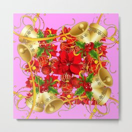 FESTIVE  GOLD BELLS PINK-RED CHRISTMAS ART Metal Print