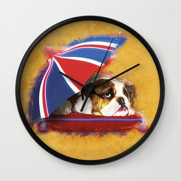 English Bulldog Puppy with umbrella Wall Clock