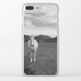 Happy White Horses - Black and White - Sun Valley, Idaho Clear iPhone Case