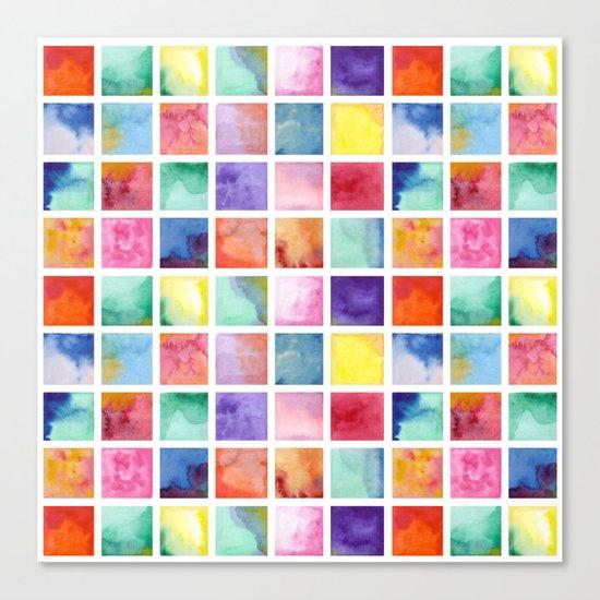 Watercolor . Squares. Geometric pattern . Canvas Print