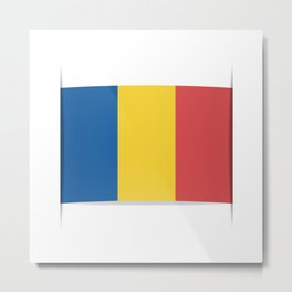 Flag of Chad, officially the Republic of Chad.  The slit in the paper with shadows. Metal Print