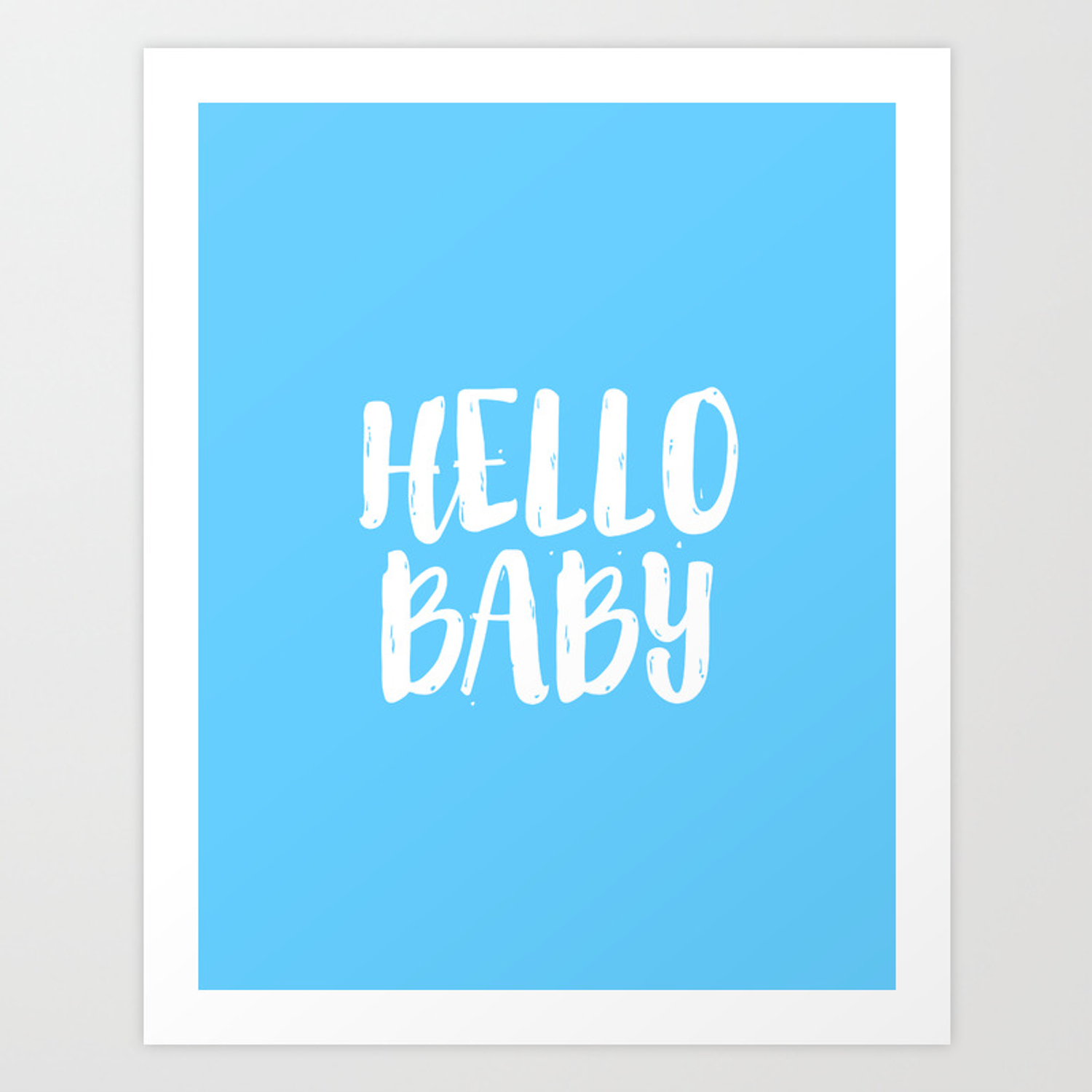 Nursery Decor Baby Room Boy Gift Newborn Hello Sign Wall Art Kids Print