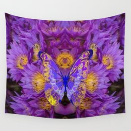 PURPLE WATER LILIES BUTTERFLY DESIGN Wall Tapestry
