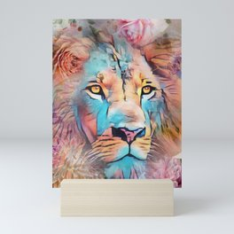 Colorful Lion Full Mane Surrounded by Flowers Mini Art Print