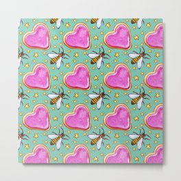 Honeybee and Heart Pattern on Aqua Metal Print