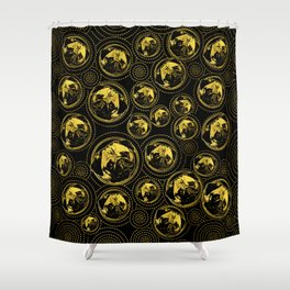 Pug Puppy Pattern gold and black Shower Curtain