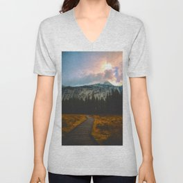 Path leading to Mountain Paradise Mountain Snow Capped Pine trees Tall Grass Sunrise Landscape Unisex V-Neck