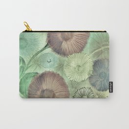 PASTEL GREEN GERBERA AND DAISY DESIGN PRINT Carry-All Pouch