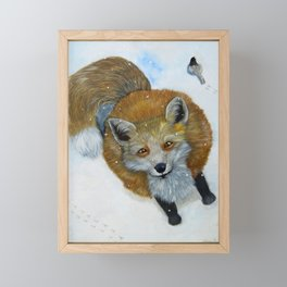 Fox and Chickadee Framed Mini Art Print