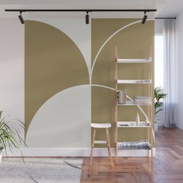 Diamond Series Round Solid Lines White on Gold Wall Mural