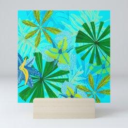 My blue abstract Aloha Tropical Jungle Garden Mini Art Print