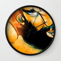 heavy metal Wall Clocks featuring Heavy Metal by Toni Caputo