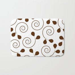 Brown Floral Swirl Pattern Bath Mat