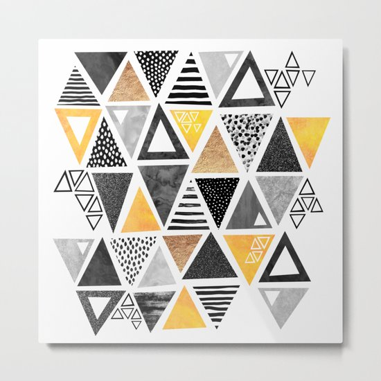 Triangle Abstract / Black & Yellow Metal Print