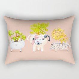 Kawaii dog cat hedgehog succulents Rectangular Pillow