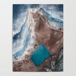Mahon Ocean Pool at Maroubra Beach in Sydney Australia | Aerial Illustration Poster
