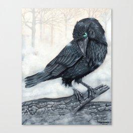 El ve a través del cuervo y controla la niebla Canvas Print