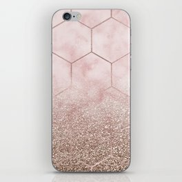 Glitter ombre hex - cloudy pink marble & rose gold glitter iPhone Skin