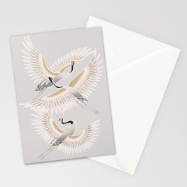 traditional Japanese cranes bright illustration Stationery Cards