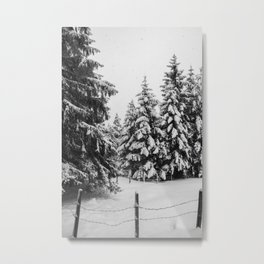 Snowy Forest Trees Metal Print
