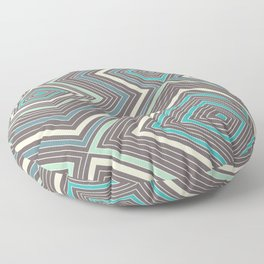 Blue, Yellow, Green and Gray Lines - Illusion Floor Pillow