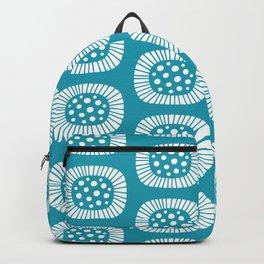 Mid Century Modern Atomic Sunburst Cerulean Backpack