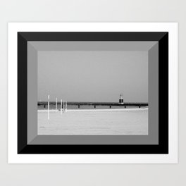 Lake Michigan Beacon Light in Black & White Art Print