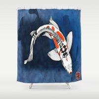 koi fish Shower Curtains featuring Koi Fish by Nerd Artist DM