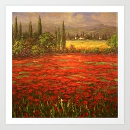 Red Poppy Fields of Tuscany Art Print