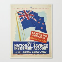 Poster, War Finance Campaign, October 1940, Wellington, by E.V. Paul, Government Printer, N.Z. Natio Canvas Print