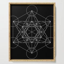 Metatron's Cube Black & White Serving Tray